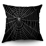 Moslion Halloween Pillows Decorative Throw Pillow Cover Horror Spider Web Net with Raindrop Scary Insect Bat Pillow Case 18x18 Inch Cotton Linen Square Cushion Cover for Sofa Bed Black White