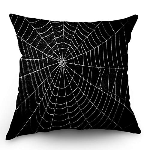 Moslion Halloween Pillows Decorative Throw Pillow Cover Horror Spider Web Net with Raindrop Scary Insect Bat Pillow Case 18x18 Inch Cotton Linen Square Cushion Cover for Sofa Bed Black White -