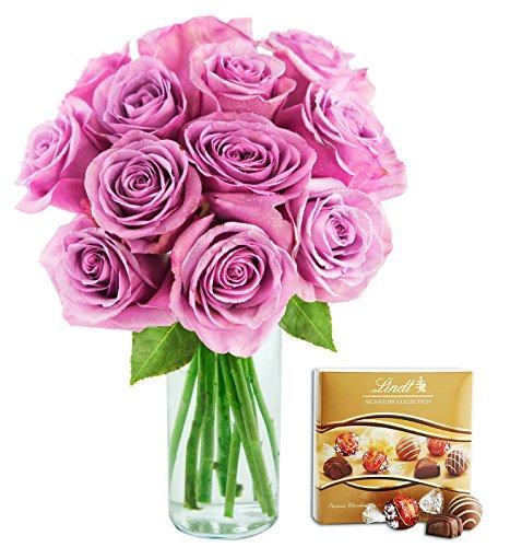 KaBloom Bouquet of 12 Fresh Cut Purple Roses (Long Stemmed)