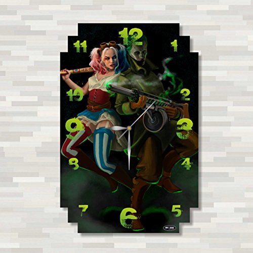 Cogsworth Costumes To (Suicide Squad - Harley Quinn & Joker 17'' x 11'' Handmade unique Wall Clock - Get unique décor for home or office – Best gift ideas for kids, friends, parents)