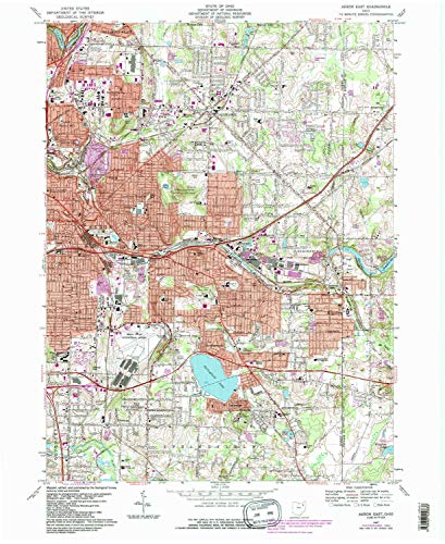 YellowMaps Akron East OH topo map, 1:24000 Scale, 7.5 X 7.5 Minute, Historical, 1967, Updated 1984, 27 x 22.1 in - Tyvek