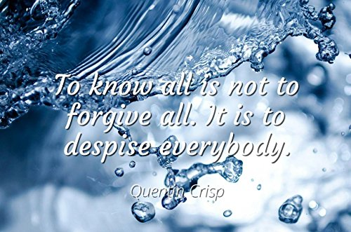 Home Comforts Quentin Crisp - Famous Quotes Laminated Poster Print 24x20 - to Know All is not to Forgive All. It is to Despise Everybody.