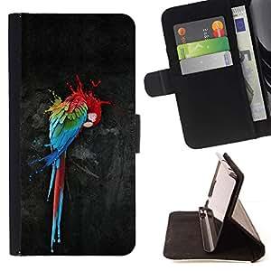 Momo Phone Case / Flip Funda de Cuero Case Cover - Loro Arte Pintura colorida de la acuarela del arte del pájaro - Huawei Ascend P8 (Not for P8 Lite)