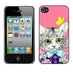 Cubierta de la caja de protección la piel dura para el Apple iPhone 4 / 4S - kit cat kitten pink butterfly