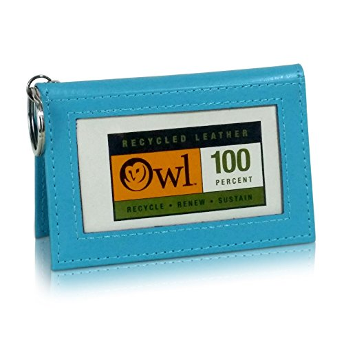 OWL Two-Fold BLUE Small Leather Bifold ID Card Holder Wallet with Keychain for Men and Women