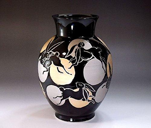 有田焼伊万里焼の陶器花瓶満月うさぎ絵|贈答品|ギフト|記念品|贈り物|陶芸家 藤井錦彩 B00M19FRJ2