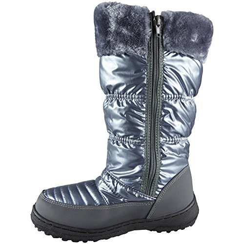 Mid Fur 3 Lace Boots Up 8 Ladies Calf Lining Grey Look Loud Flat Snow Size Rain Winter xqpwv4XHR