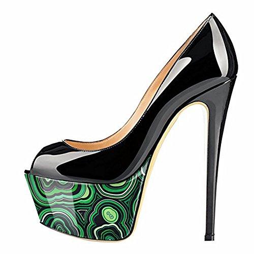onlymaker Women's Fashion Super High Heel Pump Platform Peep Toe Slip On Stiletto Wedding Party Shoes Black Green