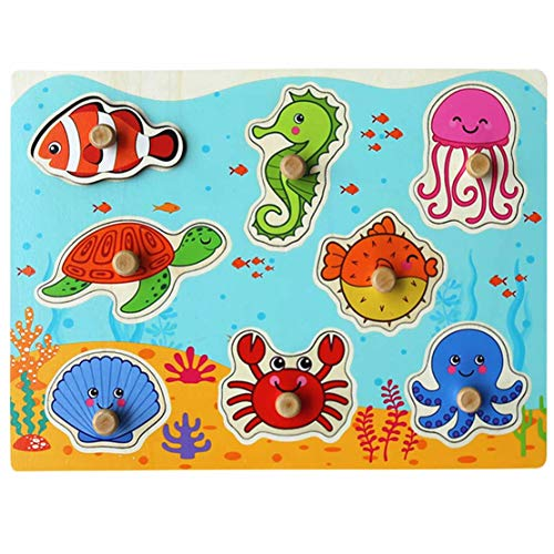 Muxihosn Wooden Sea Animal Peg Puzzles,Home Preschool Learning Educational Development Game, Bundle Shape Toy for Age 3-7 Years Old Kids Children ()