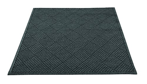 Guardian EcoGuard Diamond Indoor Wiper Floor Mat, Recycled Plactic and Rubber, 4'x6', Charcoal Black