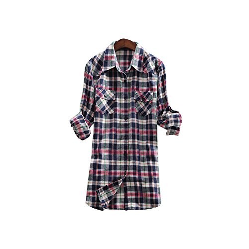 Women's Mid Long Style Roll Up Sleeve Plaid Flannel Shirt C003 Blue Pink Lable 5XL - US XL