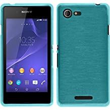 Silicone Case for Sony Xperia E3 - brushed blue - Cover PhoneNatic + protective foils