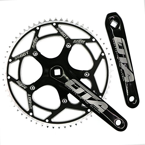 Single Speed Crankset Set 60T 170mm Crankarms 130 BCD CYSKY Fixie Crankset for Single Speed Bike, Fixed Gear Bicycle, Track Road Bike (Square Taper, Black) by CYSKY