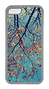 iPhone 5C Case, Customized Protective Soft TPU Clear Case for iphone 5C - Autumn Yellow Leave Cover