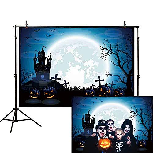 Allenjoy 7x5ft Halloween Party Backdrop Cartoon Graveyard Cross Tombstone Zombie Castle Pumpkin Dead Tree Moon Werewolf Moonlight Crow Weed Horror night Photography Background Photo -