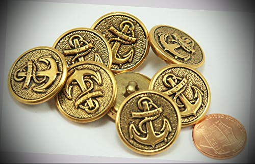 (JumpingLight 8 Puffed Antiqued Brass Tone Metal Buttons Anchor Nautical 7/8'' 23MM 6138 Perfect for Crafts, Scrap-Booking, Jewelry, Projects, Quilts)