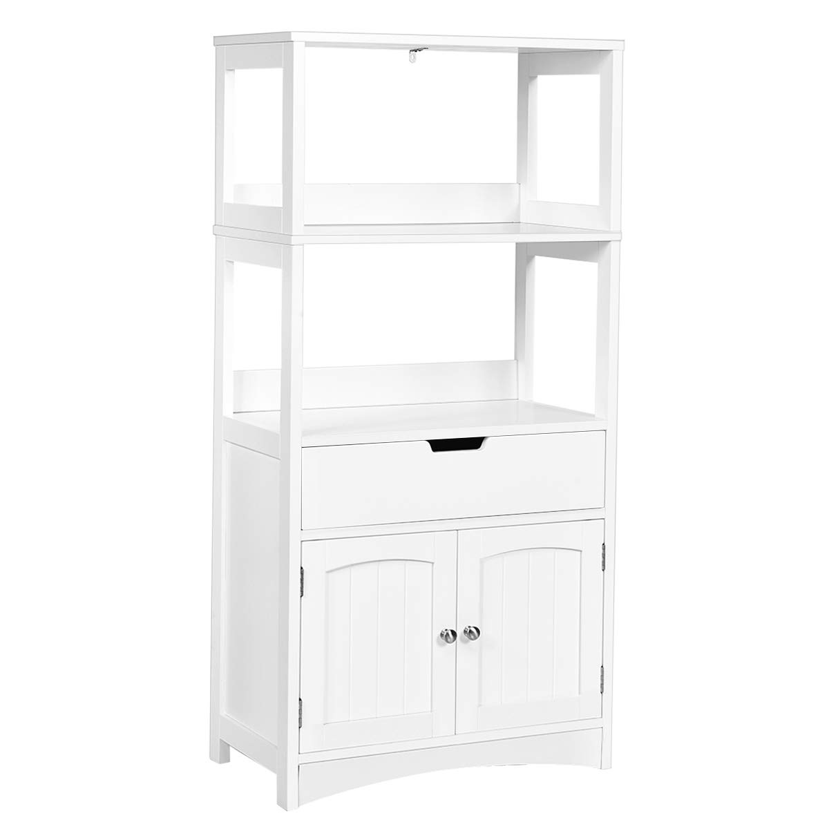 Tangkula Bathroom Storage Cabinet with Drawer and Shelf, Floor Cabinet w/2 Open Shelves and Door Cupboard, Storage Cabinet for Kitchen, Hallway, Living Room, Free Standing Wooden Display Cabinet