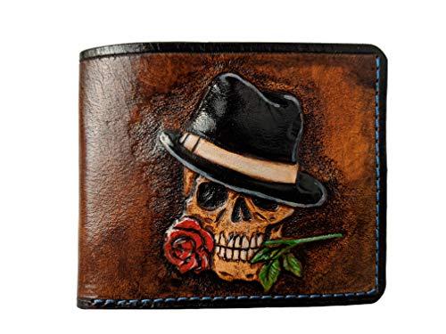 Men's 3D Genuine Leather Wallet, Hand-Carved, Hand-Painted, Leather Carving, Custom wallet, Personalized wallet, Skull wallet, Skeleton wallet, Rose wallet, Gangster, Gangsta]()