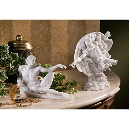 Design Toscano The Creation of Adam Bonded Marble Statue Set