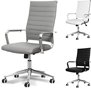 Okeysen Office Desk Chair, Ergonomic High Back Ribbed, Height Adjustable Tilt, Upgraded Seat with Arm PU Wrap, Swivel Executive Conference Task Rolling Chair. (Grey)