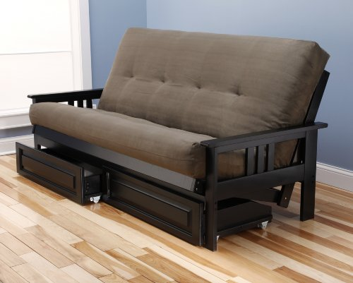 Monterey Full Size Futon Sofa and Drawer Set, Black Painted Hardwood Frame And Soft Suede Innerspring Mattress, Olive