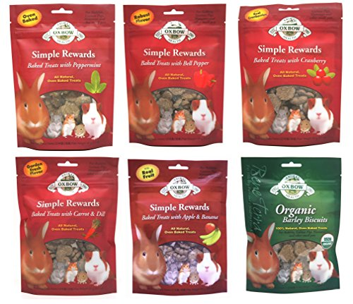 Oxbow Simple Rewards All Natural Oven Baked Treats for Rabbit, Guinea Pigs, Hamsters, and Other Small Animals Variety Pack - 6 Flavors
