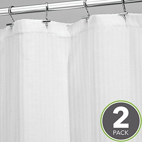 mDesign Herringbone Soft Cotton Blend Fabric Shower Curtain, Luxury Hotel - Long 72