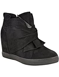 Fashion Thirsty Womens Mid High Heel Wedges Sneakers Hi Tops Bow Trainers Knot Shoes Size