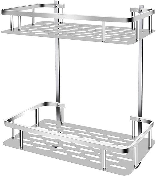 Bathroom Aluminum Storage Shelf Basket with Hooks Wall Mounted Double Deck