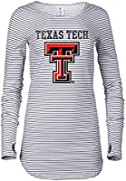 Venley Official NCAA Texas Tech University Red Raiders Women's Striped Thumbhole Long Sleeve 01AMAA16 - Grey White...
