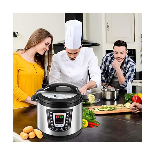 Costway Electric Pressure Cooker Brushed Stainless Steel and Aluminum, 120 V 60 Hz, 1000W, 6 quart 2
