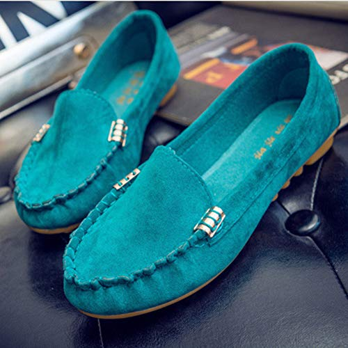 Mocassini Quotidiano Guidare Flat Soft Pelle Data Donne Sole Profondo Pigro Pompe Signore Scamosciata Dolly Poco Scarpe Wear Verde Yudesun wSq7nvRn