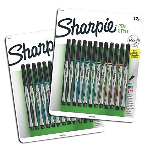 Sanford Sharpie Fine Point Pen Stylo, Assorted Colors, 24-Pack by Sanford