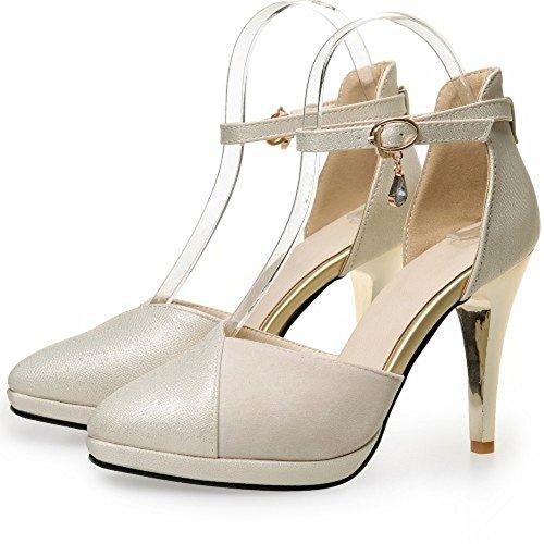 High Fashion Toe Buckle Platform Shoes Pointed Beige Sandals Ladies Heels LongFengMa xHtqdwYY