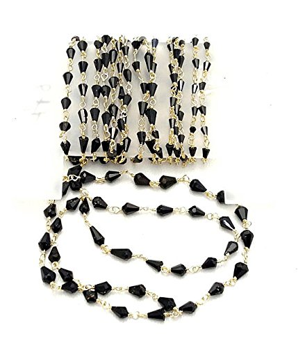 Rosary Chain Black Spinel Cone Shaped Beads,925 Sterling Silver, 24 k Gold Plated,Rosary Style,Wire Wrapped Chain,Chain per Foot Size - 2x2-3x4 mm [E1745]