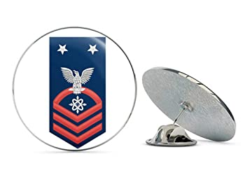 """US Navy Master Chief Red E-9 Data Systems Technician DS Military Veteran USA Pride Served Gift Metal 0.75"""" Lapel Hat Pin Tie Tack Pinback"""