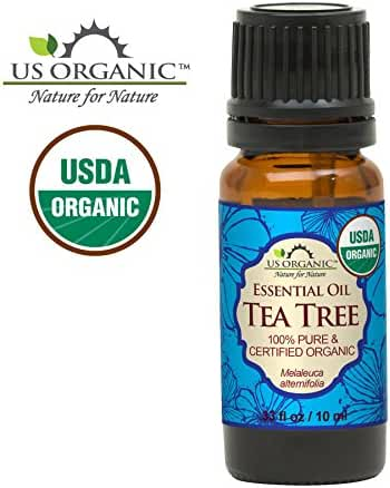 US Organic 100% Pure Tea Tree Essential Oil - USDA Certified Organic - 10 ml - w/ Improved caps and droppers (More Size Variations Available)