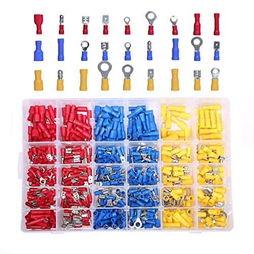 SOLOOP 480PCS Electrical Connectors, Insulated Wire Terminals,Wire Connectors Spade Bullet Ring Connector Solderless Crimp Terminals Kit with 12 Size Assortment Terminal Set