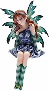 PTC, Purple and Green Fairy Sitting on a Shell Statue Figurine, 4 Inch