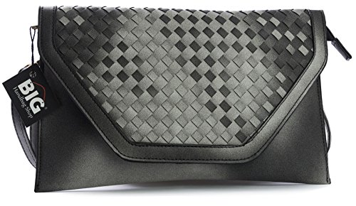 Leather St245 Womens Grey Shop Shouldr Handbag Envelope Vegan Big Woven Bag Clutch Wristlet wf7qPXnnE