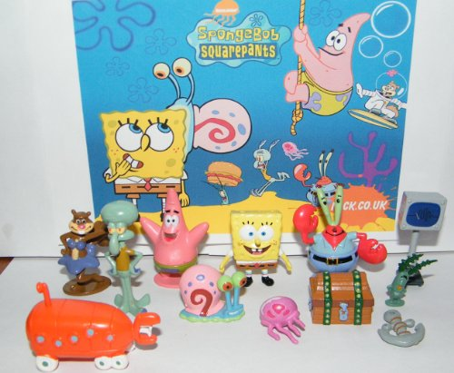 Spongebob and Friends Mini Toy Figure Playset of 12 with Mr. Krabs, Computer Wife Karen, Treasure Chest, Patrick, Jelly Fish, Anchor and Much More! -