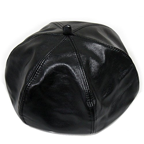 LOCOMO Men Women Winter Warm PU False Leather Plain Color Beret Cap FFH243BLK (Ladies Leather Hats)