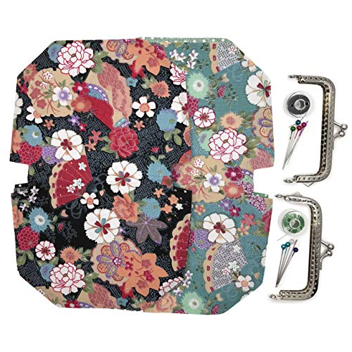 - Purse Handbag Making Material Kit, with Frame Clasp Needle Sewing Thread, Bag Handmade DIY Craft (Black and Blue, Folding Fan Peony Flower Pattern)