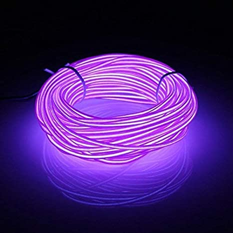 5 M El Wire Draht Neon Mit Batterie Trafo Für Weihnachtsfeiern Halloween Rave Partys Lila Beleuchtung
