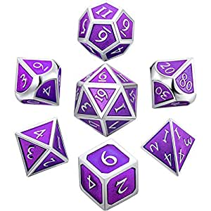 Hestya 7 Pieces Metal Dices Set DND Game Polyhedral Solid Metal D&D Dice Set with Storage Bag and Zinc Alloy with Enamel for Role Playing Game Dungeons and Dragons (Purple)