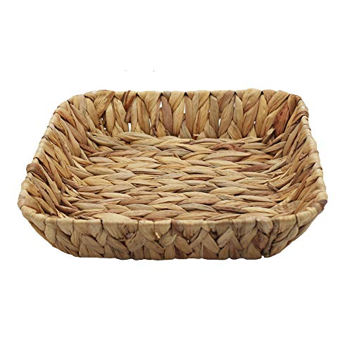 HDKJ Fruit Tray,Natural Water Hyacinth Rectangular Storage Basket Bins,Arts and Crafts. (1)
