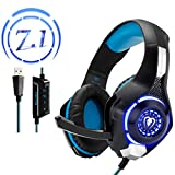 PC Gaming Headset with 7.1 Surround Sound - Beexcellent Wired Over Ear USB Headsets with Mic One Key Mute Volume Control Blue Led Light for Computer Laptop Ps4 ( GM-120 BlackBlue )