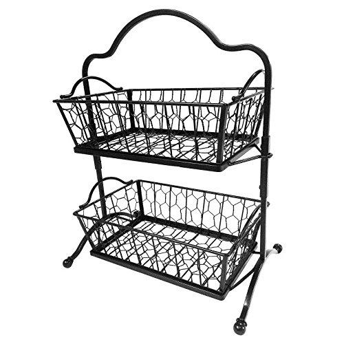 New 2 Tier Fruit Rack Wrought Iron Display Basket Metal Stand 19