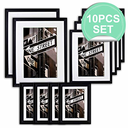 (THE Display Guys 10 Piece Matte Black Solid Pine Wood Photo Frame Set, Two 11x14 Inch, Two 8x10 Inch, Six 5x7 Inch, With White Core Mat Boards And Picture Collage Mat Boards, Luxury Made Affordable)
