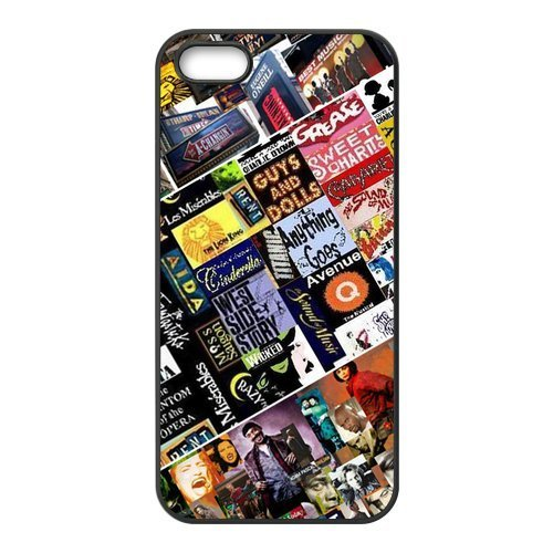 Creative Broadway Collage Design Solid Rubber Customized Cover Case for iPhone 5 5s 5s-linda34